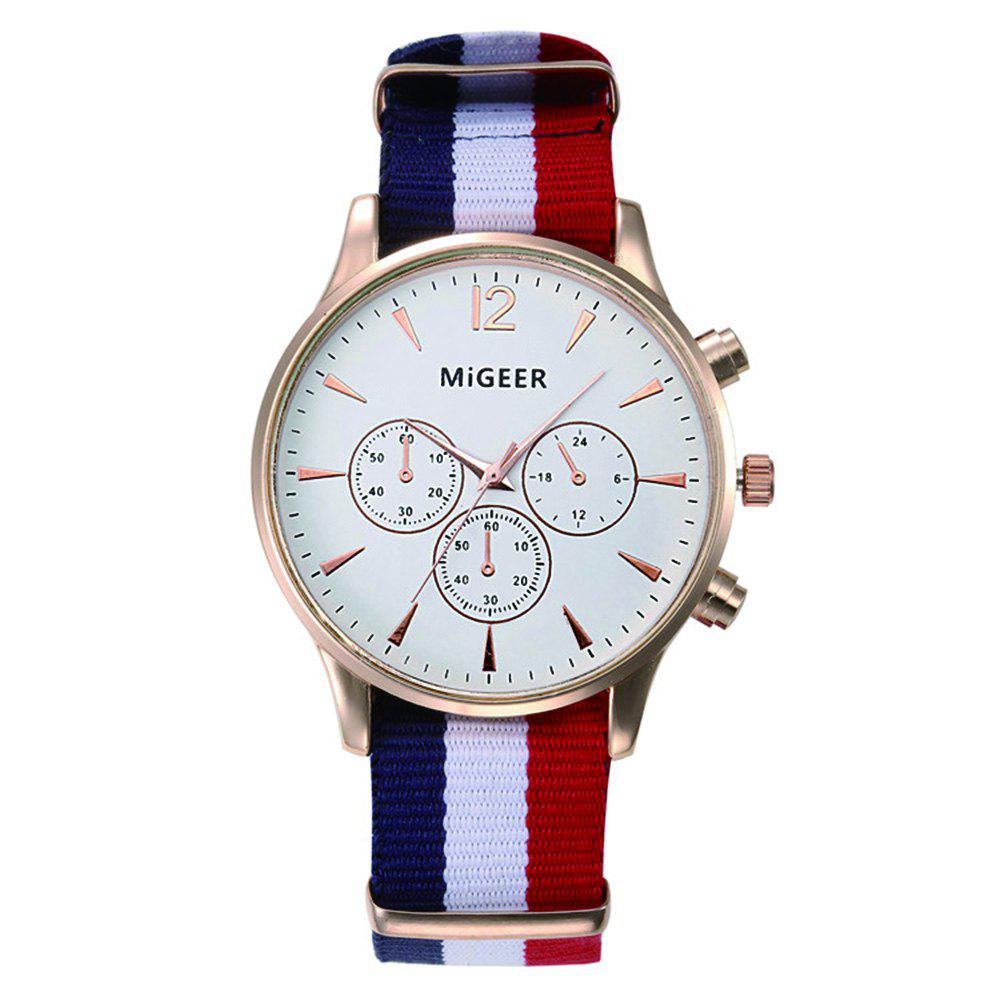 MiGEER Mens Fashion Canvas Analog Quartz Watch - MILK WHITE