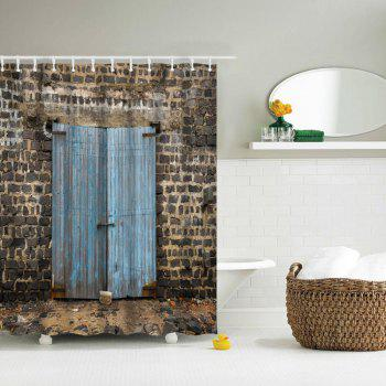 Ancient Wooden Door Water-Proof Polyester 3D Printing Bathroom Shower Curtain - multicolor A W71 INCH * L71 INCH