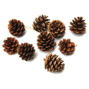 9PCS Christmas Tree Pine Cones Pendants Xmas New Year Holiday Party Decoration - BROWN