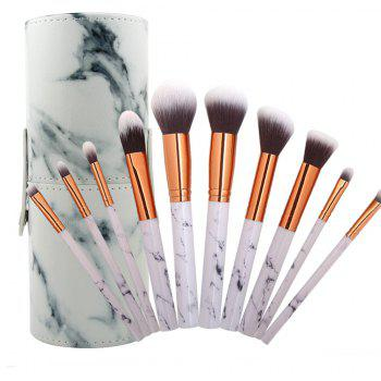MAANGE Barrelled 10 Marble Make Up Brushes - WHITE