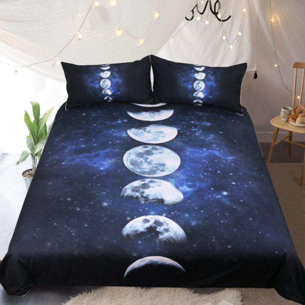 Moon Eclipse Changing Bedding  Duvet Cover Set Digital Print 3pcs - multicolor FULL