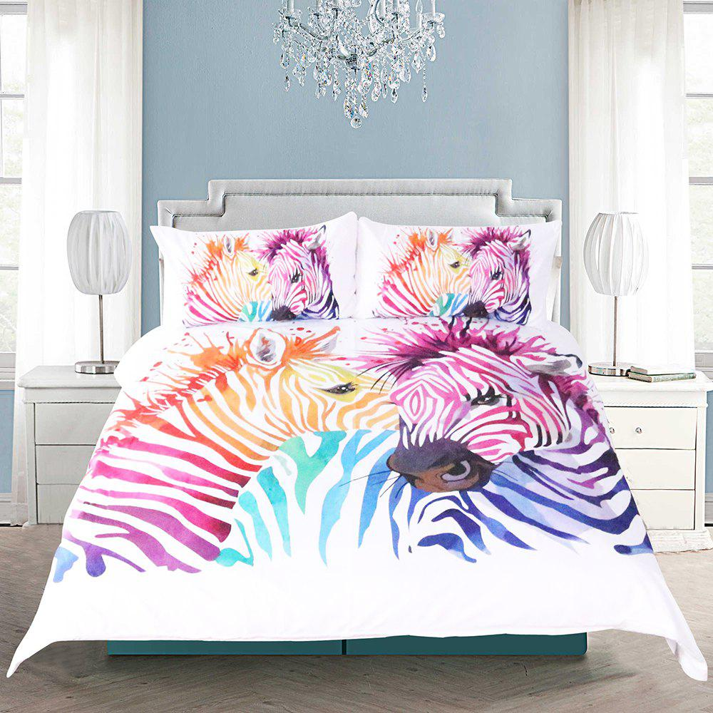 Zebra Bedding Duvet Cover Set Digital Print 3pcs цена 2017