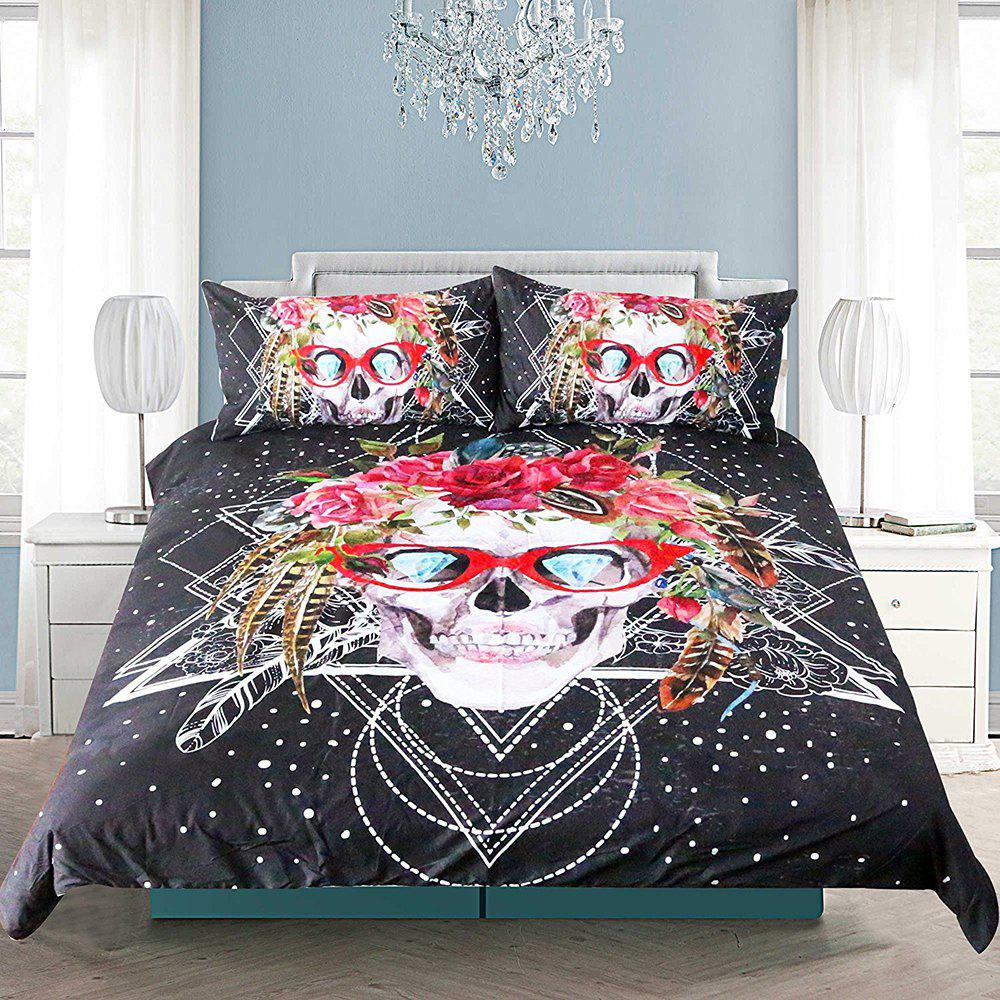 Skull Pattern Bedding  Duvet Cover Set Digital Print 3pcs - multicolor QUEEN