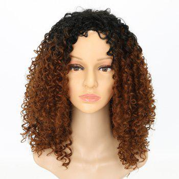 Fashion Brown Ombre Hair Synthetic Afro Curly Long Wigs for American - DEEP COFFEE 16INCH
