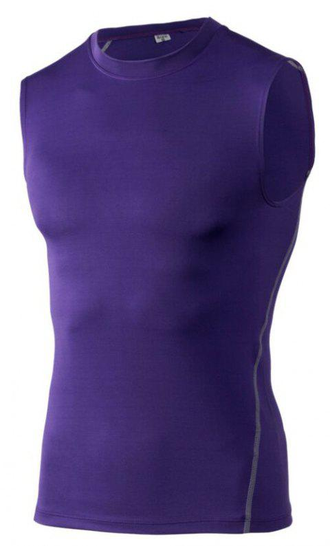 Men's Skinny Training Vest PRO Exercise Fitness Elastic Speed Dry Vest - VIOLET L