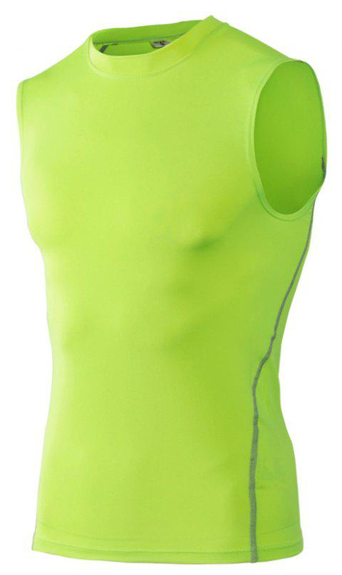 Men's Skinny Training Vest PRO Exercise Fitness Elastic Speed Dry Vest - GREEN 2XL