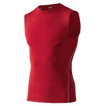 Men's Skinny Training Vest PRO Exercise Fitness Elastic Speed Dry Vest - RED 2XL