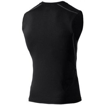 Men's Skinny Training Vest PRO Exercise Fitness Elastic Speed Dry Vest - BLACK XL
