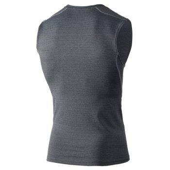Men's Skinny Training Vest PRO Exercise Fitness Elastic Speed Dry Vest - GRAY XL