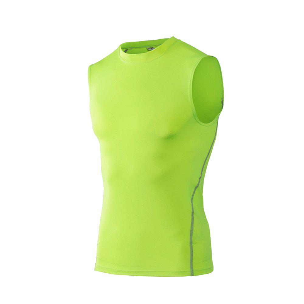 Men's Skinny Training Vest PRO Exercise Fitness Elastic Speed Dry Vest - GREEN L