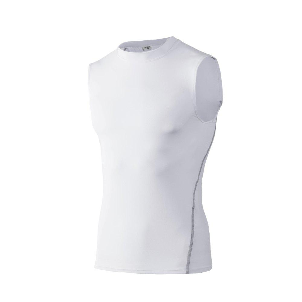 Men's Skinny Training Vest PRO Exercise Fitness Elastic Speed Dry Vest - WHITE XL