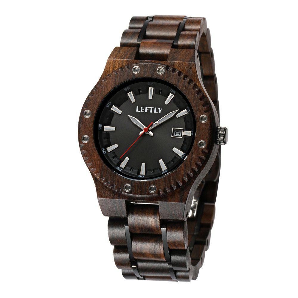 LEFTLY LYM006 Men Wood and Stainless Steel Band Luminous Function Watch - NATURAL BLACK