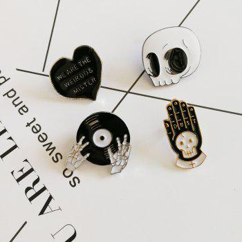 4pcs Enamel Pins Punk Brooch Lapel Pin Button Badges Jewelry Cool Gifts - SILVER