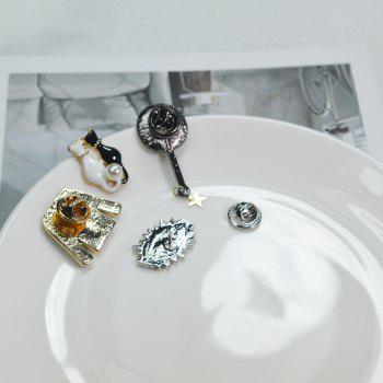 4pcs Enamel Brooch Pin Badges Hat Backpack Accessories Lovers Jewelry Gift - SILVER