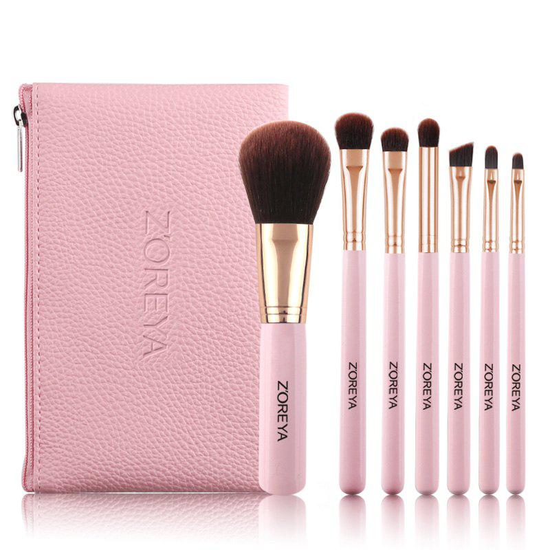 7pcs Portable Cosmetic Brush Set Brush - PINK
