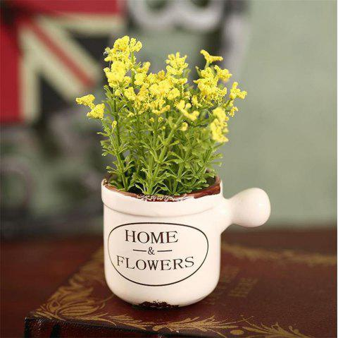 WXQY-04 Home Accessories Art Flower with Pot - YELLOW
