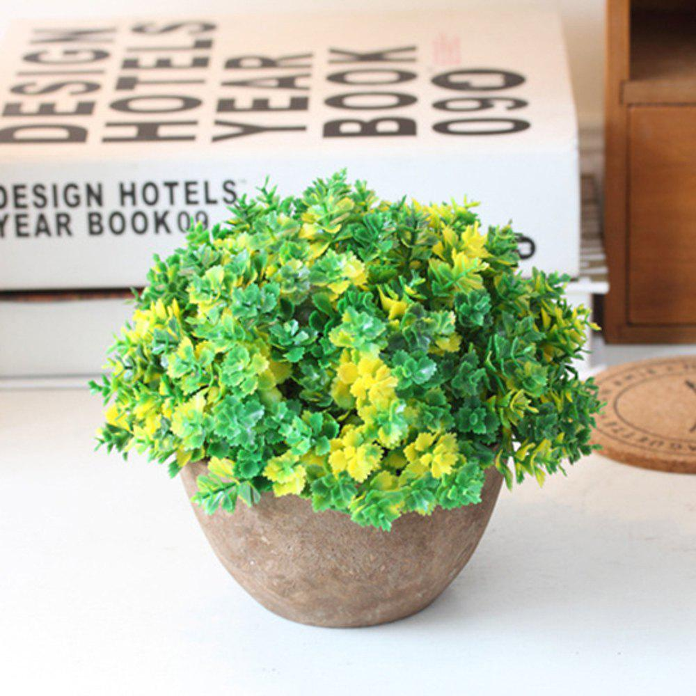 WX-B17 Floral Ornament Vintage Semicircle Clover Potted Plants - YELLOW