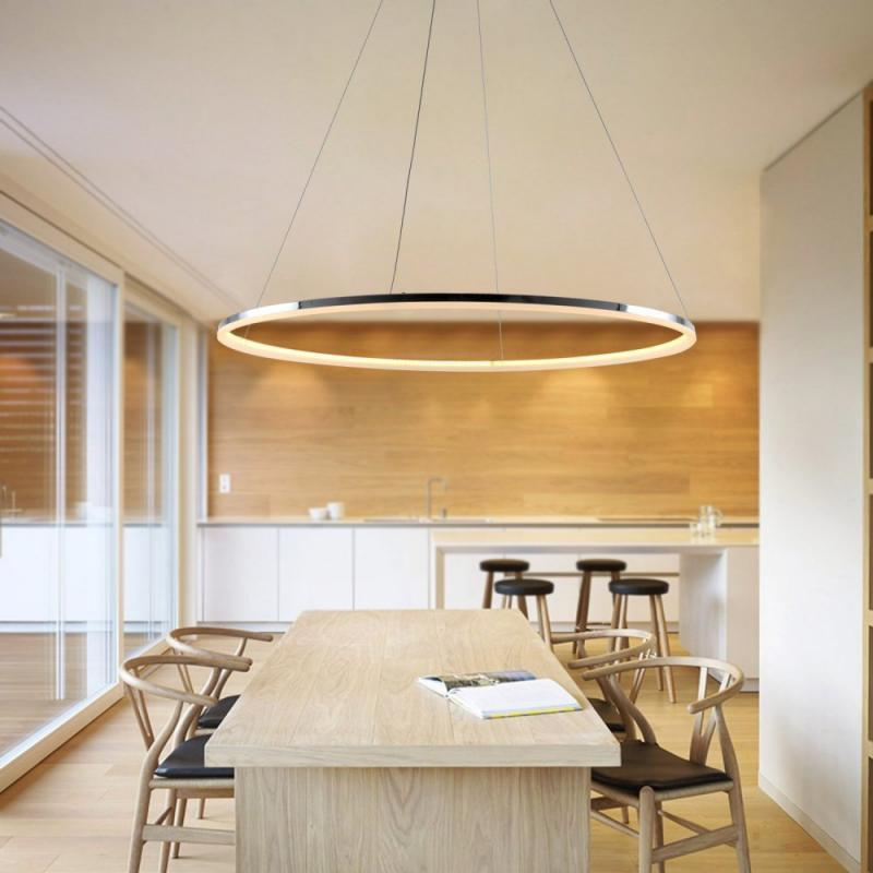 Modern LED Ring Shape Pendant Lamp Creative Style for Living Dining Office Room loft style creative rope bamboo tube vintage led pendant lights fixtures for home dining room hanging lamp suspension luminaire