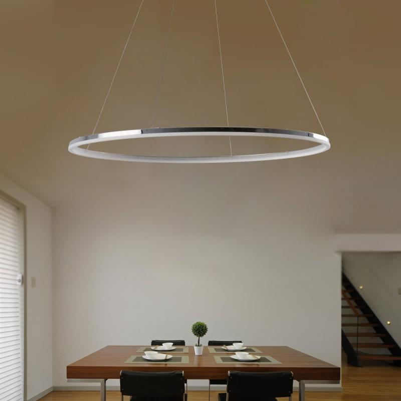Modern LED Ring Shape Pendant Lamp Creative Style for Living Dining Office Room vintage pendant lights gold silver color lampshade loft style kitchen dining room luminaire suspendu pully retro pendant lamp