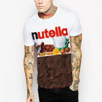 Men's 3D Coffee Cup Printing Short Sleeve T-shirt - WHITE S