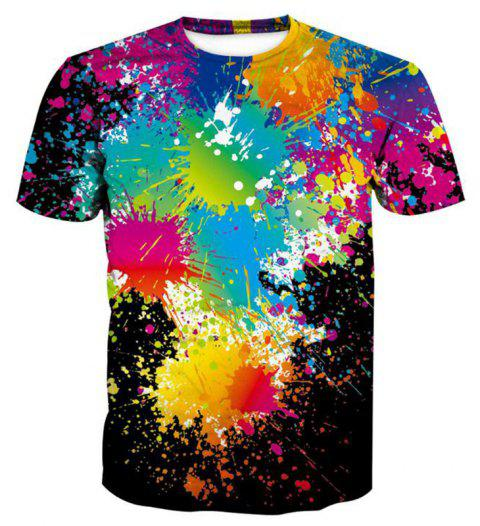 Men's 3D Graffiti Printing Short Sleeve T-shirt - BLACK 3XL