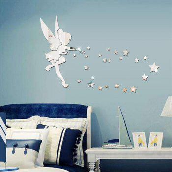 Silver Acrylic Mirror Three Dimensional Environmental Protection Wall Stickers - GRAY GOOSE