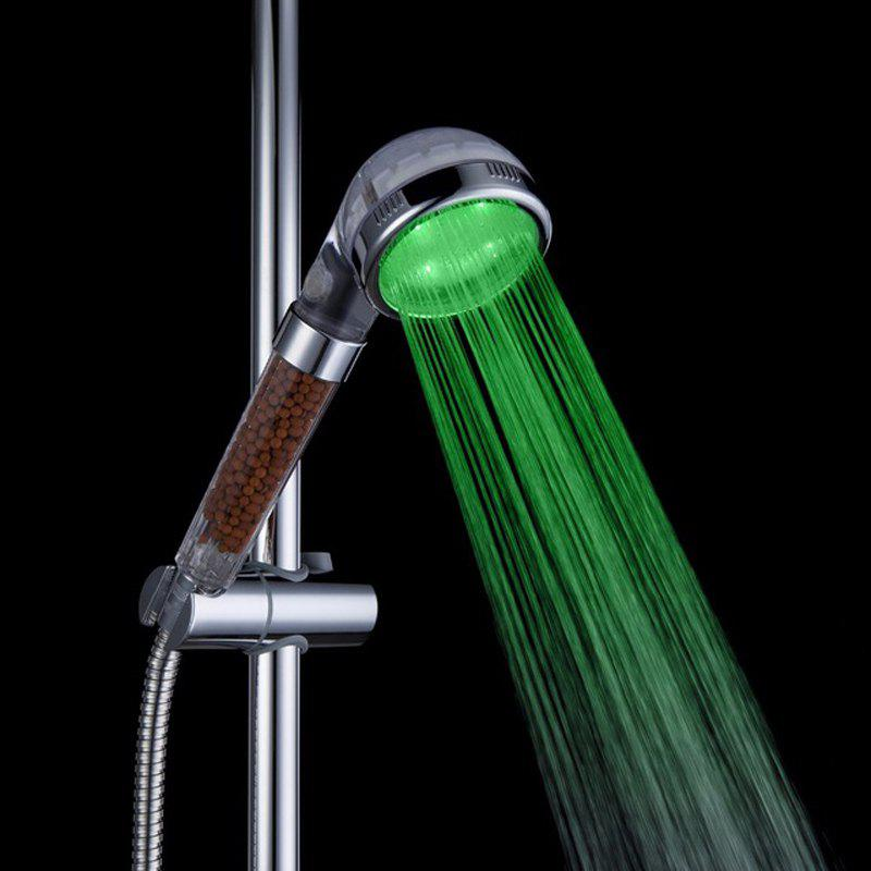 Glow Light LED Anion Health Care Shower Heads With Temperature Sensor - multicolor B S