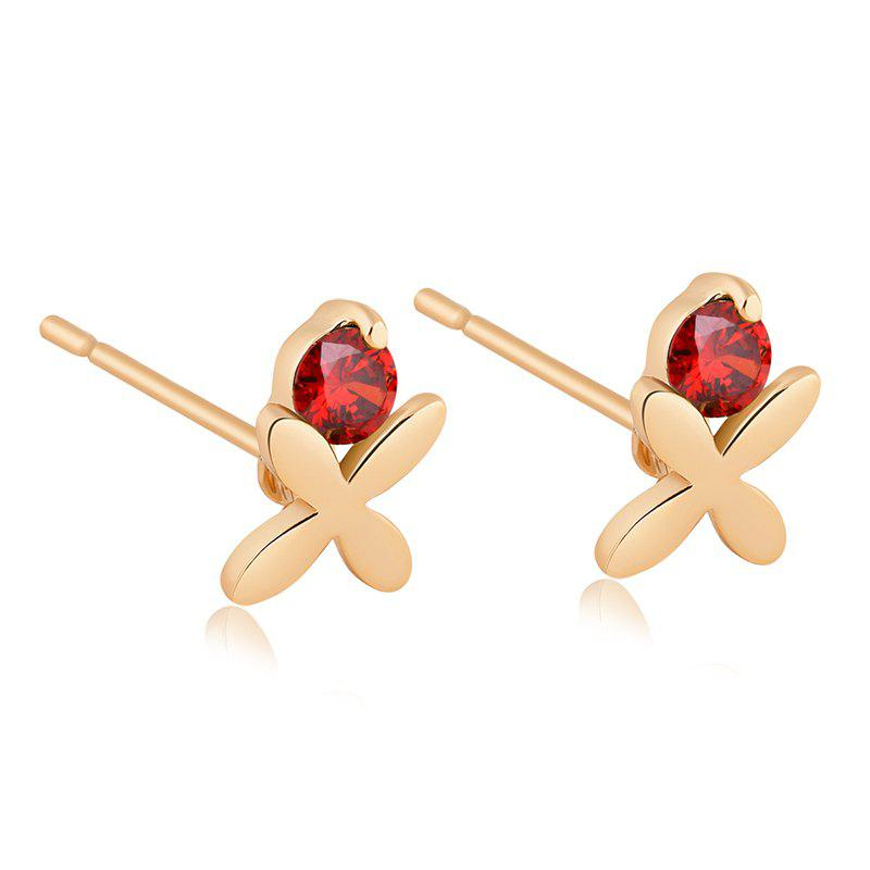 Exquisite Zircon Earrings ERZ0140 - RUBY RED