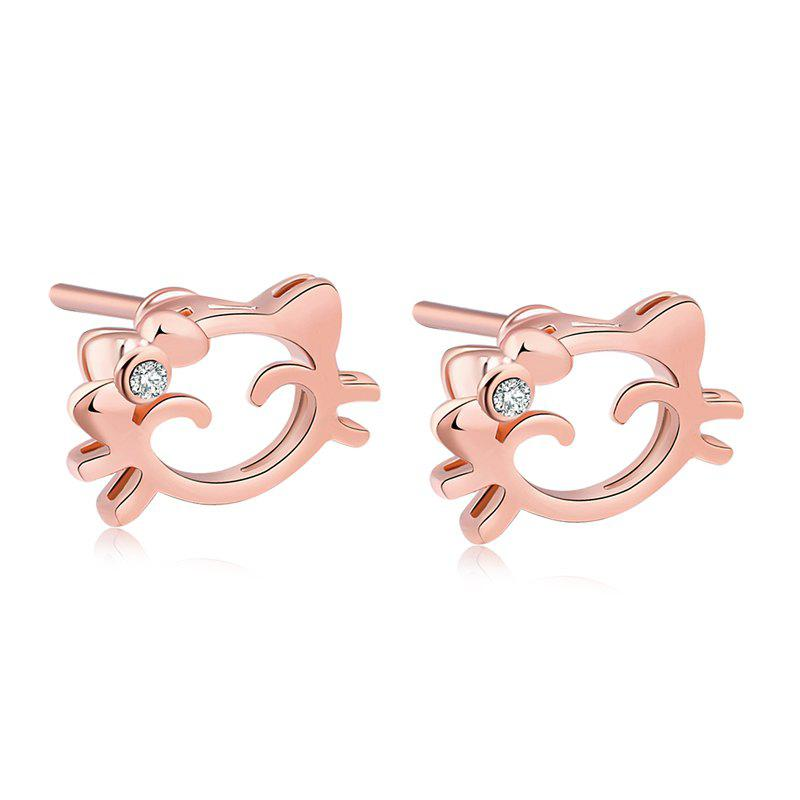 Lovely Smiley Doll Exquisite Zircon Earrings ERZ0160 - ROSE GOLD