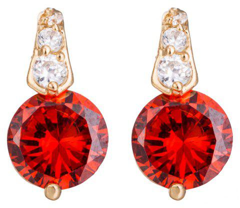 Fashion Micro Inlaid Fine Zircon Earrings ERZ0163 - RUBY RED