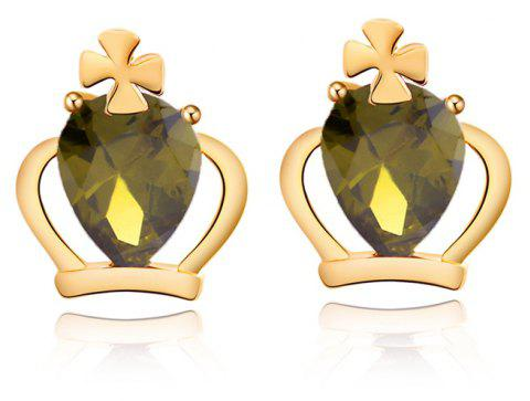 Personality Crown Fine Zircon Earrings ERZ 0165 - FOREST GREEN