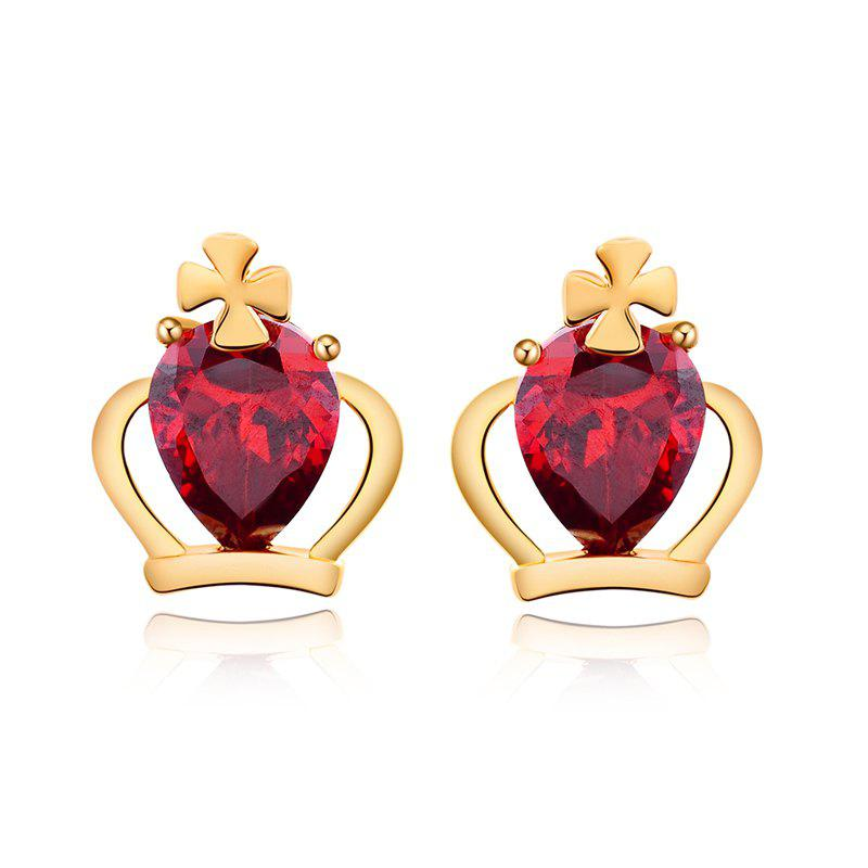 Personality Crown Fine Zircon Earrings ERZ 0165 - RUBY RED