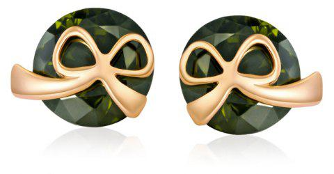 Lovely Little Bow Knot Exquisite Zircon Earrings ERZ 0168 - FOREST GREEN