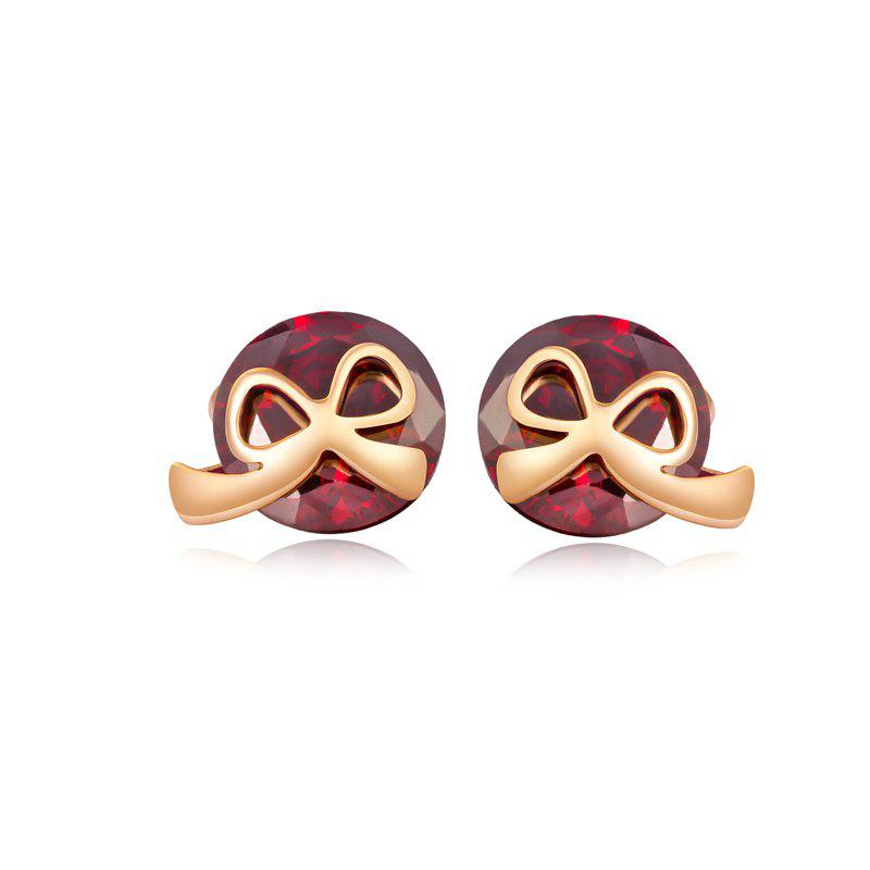 Lovely Little Bow Knot Exquisite Zircon Earrings ERZ 0168 - RUBY RED