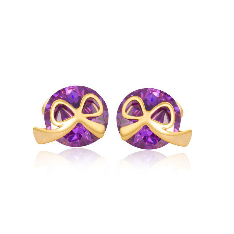Lovely Little Bow Knot Exquisite Zircon Earrings ERZ 0168 - PURPLE