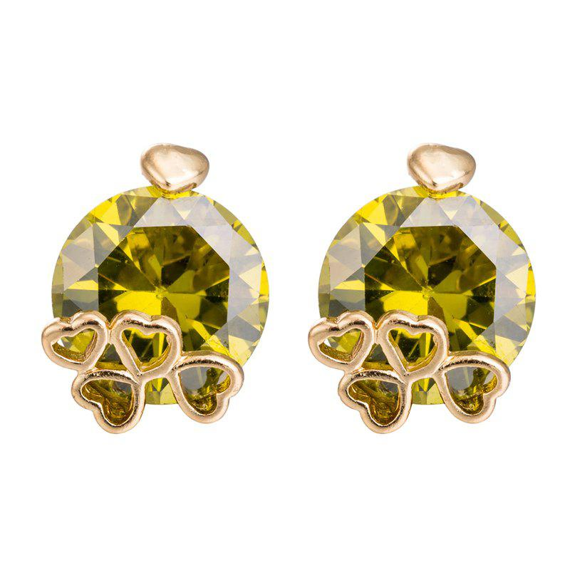Simple Personality Fine Zircon Earrings ERZ0170 - FOREST GREEN