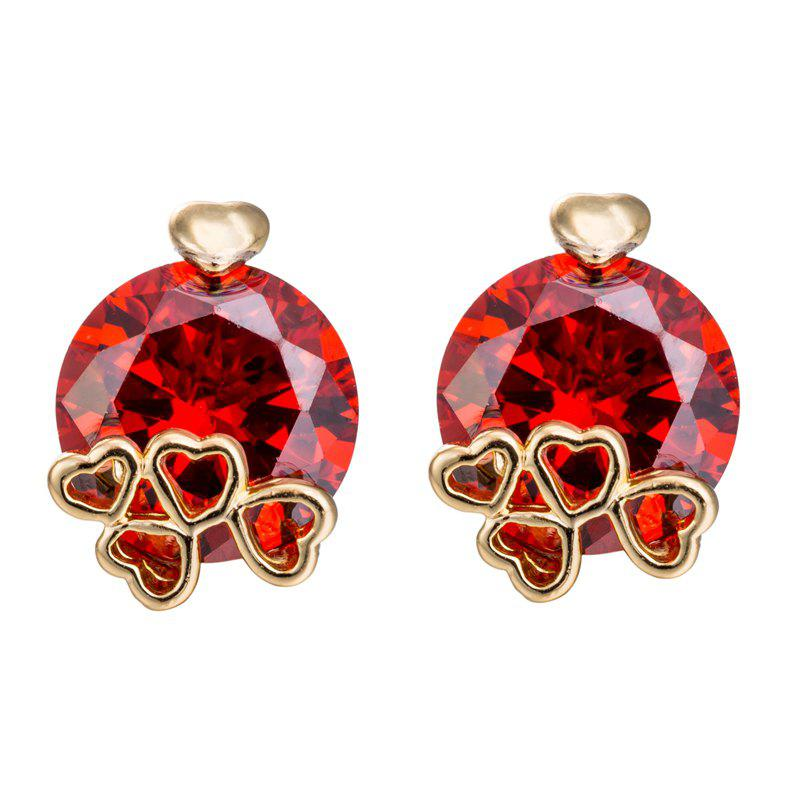 Simple Personality Fine Zircon Earrings ERZ0170 - RUBY RED