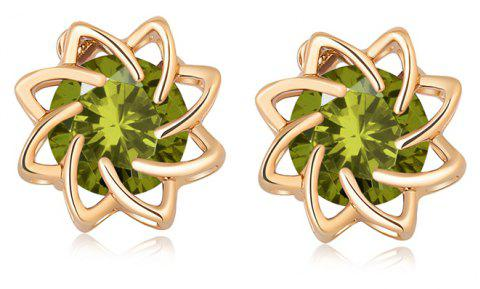 Flowers Bloom Beautifully with Zircon Earrings ERZ0174 - FOREST GREEN