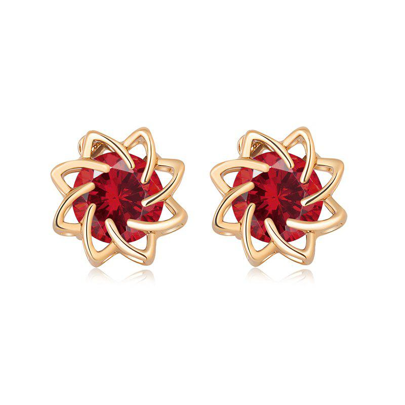 Flowers Bloom Beautifully with Zircon Earrings ERZ0174 - RUBY RED
