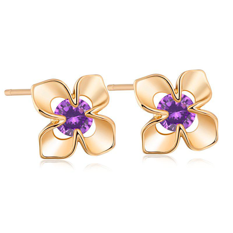 Fashion Petals Fine Zircon Earrings ERZ0175 - PURPLE
