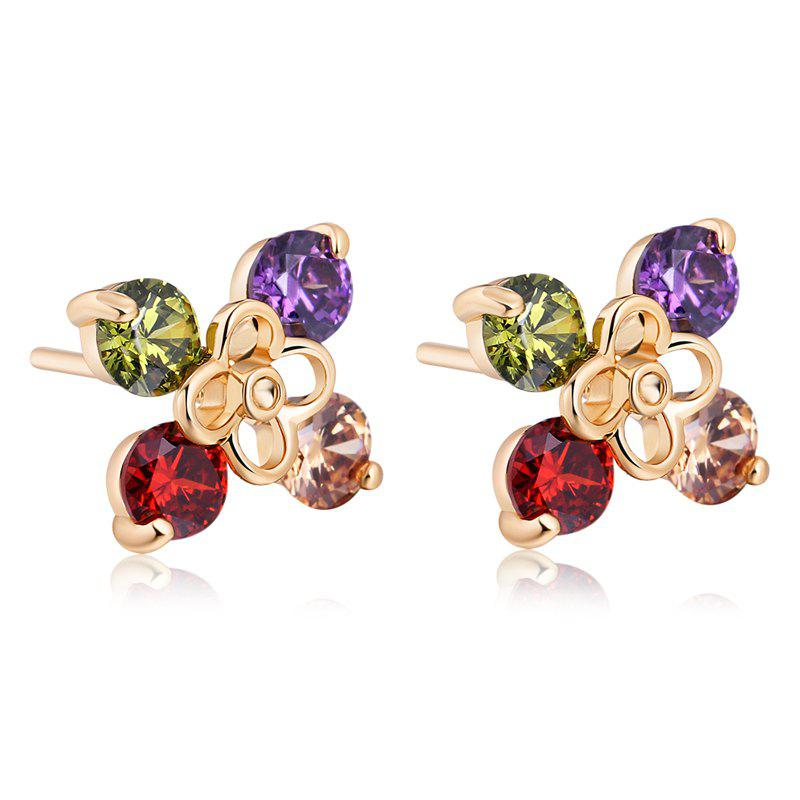 Personality Color Fine Zircon Earrings ERZ 0177 - GOLD