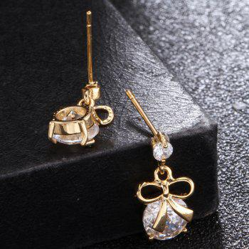 Bow Inlaid with Fine Zircon Earrings ERZ0179 - WHITE