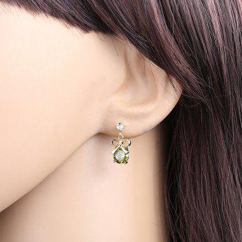 Bow Inlaid with Fine Zircon Earrings ERZ0179 - FOREST GREEN