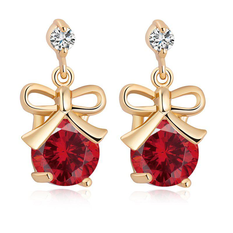 Bow Inlaid with Fine Zircon Earrings ERZ0179 - RUBY RED
