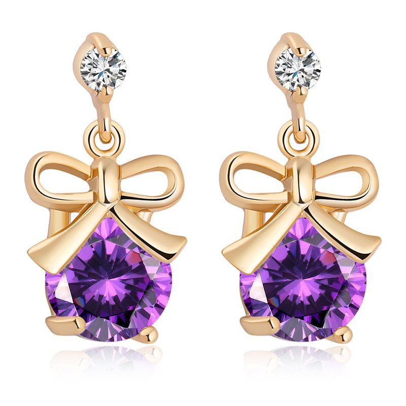 Bow Inlaid with Fine Zircon Earrings ERZ0179 - PURPLE
