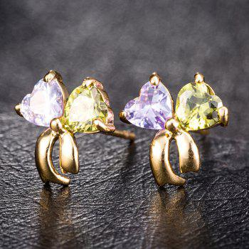 Gorgeous Zircon Earrings with Ribbons ERZ0180 - multicolor