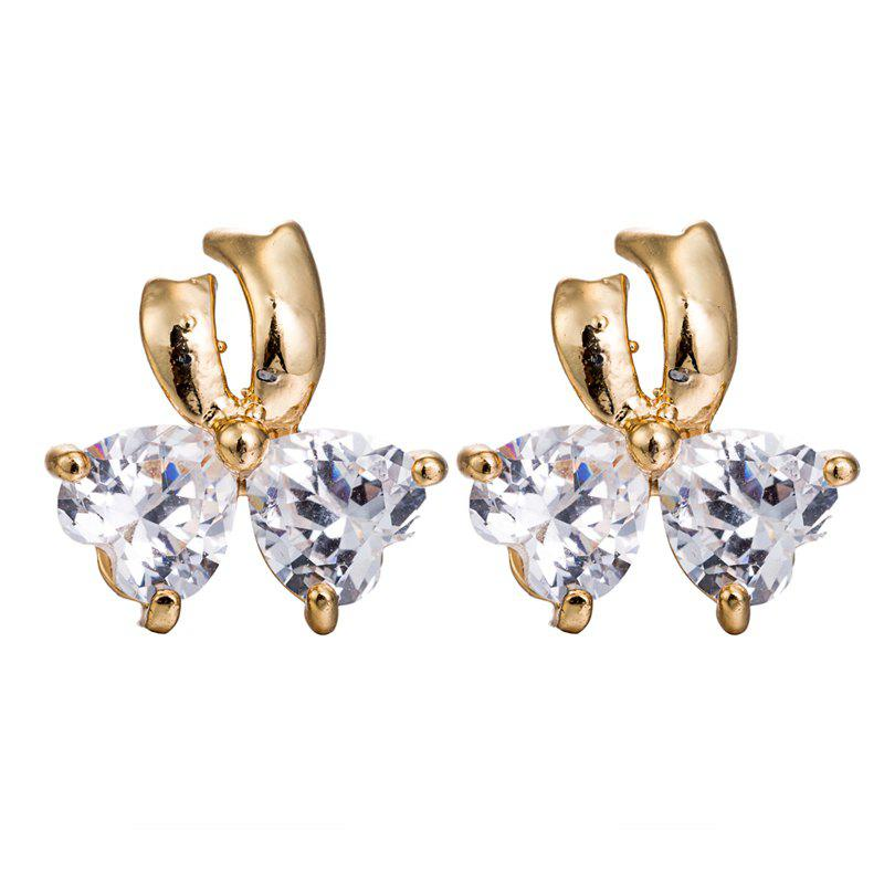 Gorgeous Zircon Earrings with Ribbons ERZ0180 - WHITE