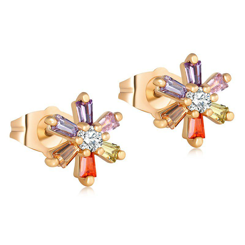 Color Petals Fine Zircon Earrings ERZ0183 - multicolor