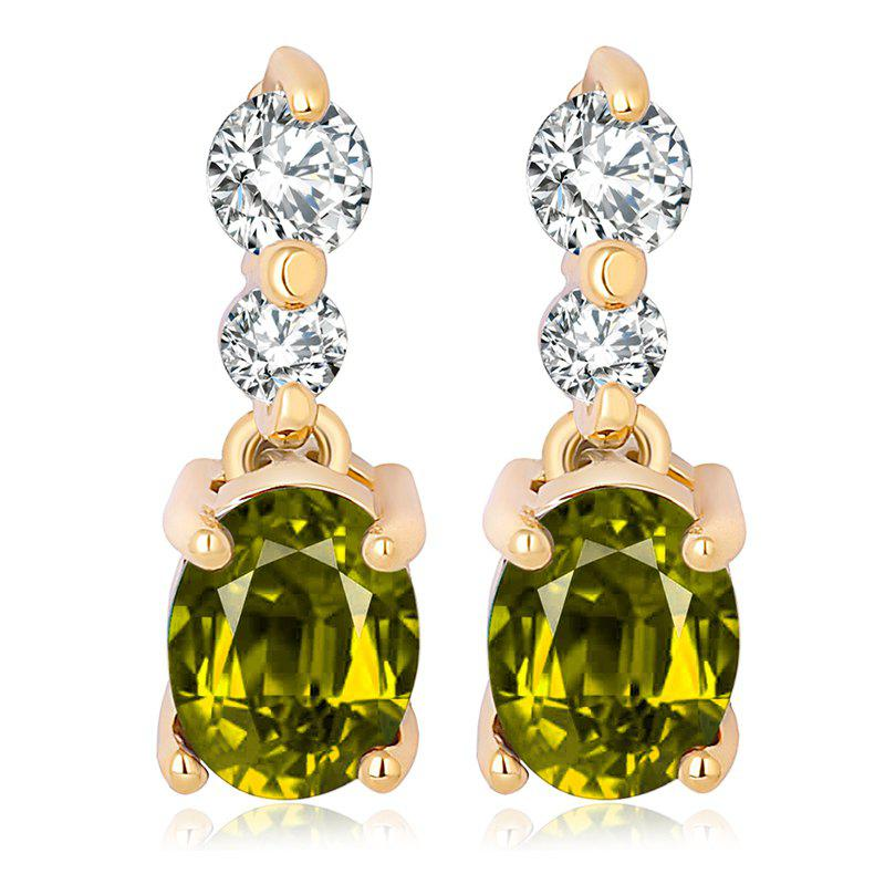 Fashion Simple Fine Zircon Earrings ERZ0185 - FOREST GREEN