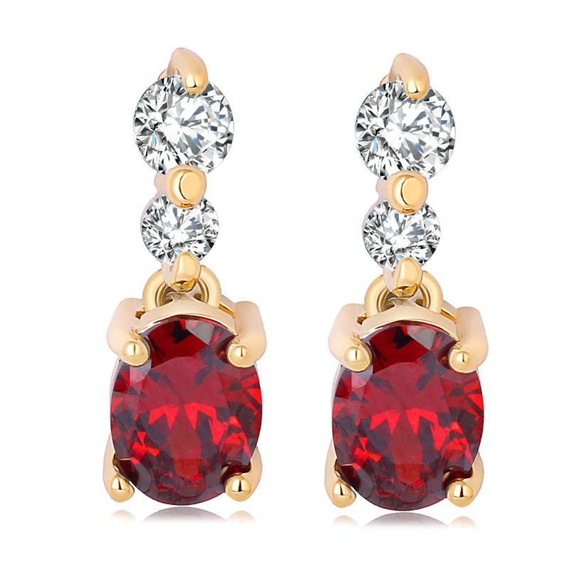 Fashion Simple Fine Zircon Earrings ERZ0185 - RUBY RED